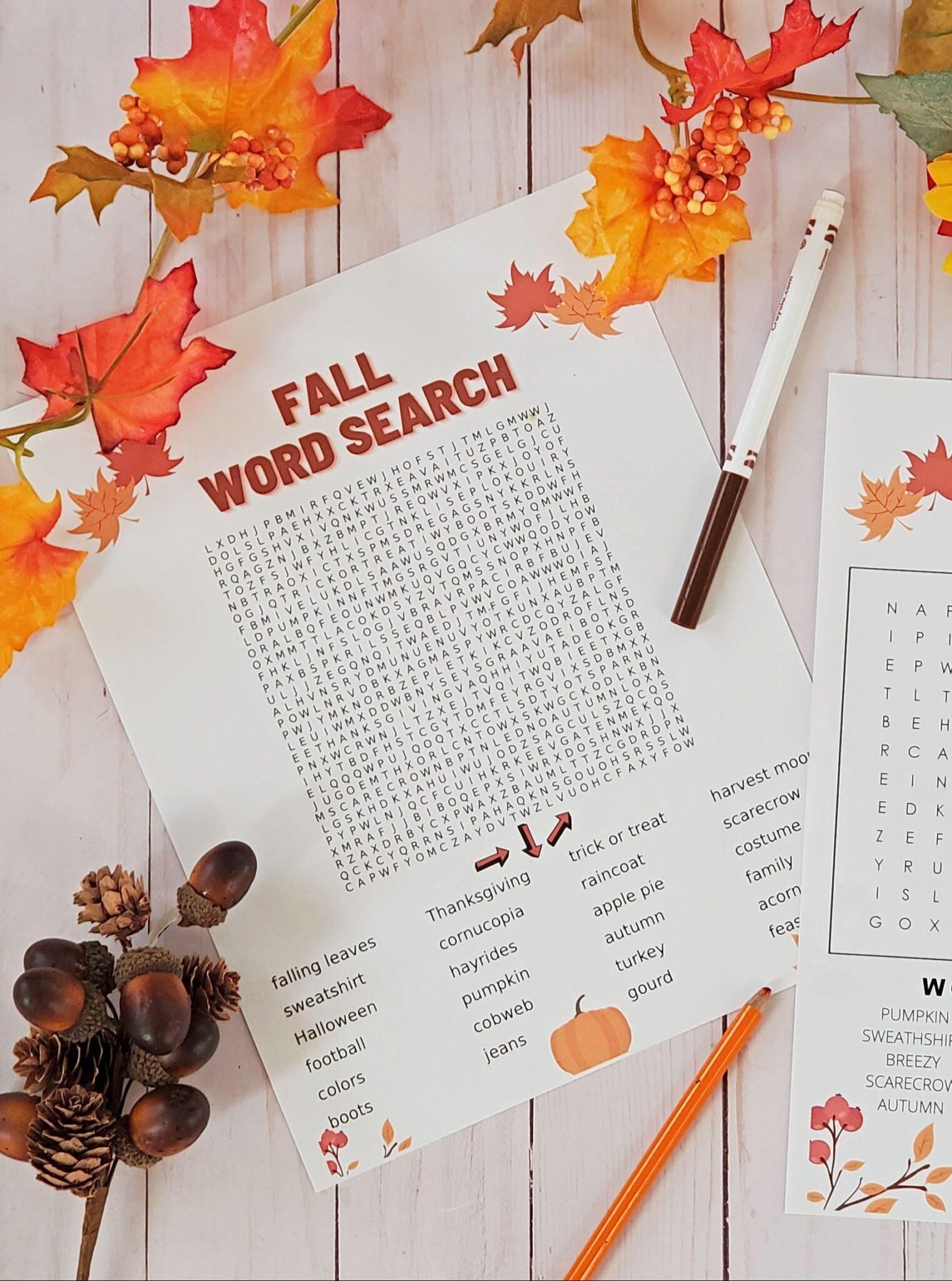 free fall word search pdf