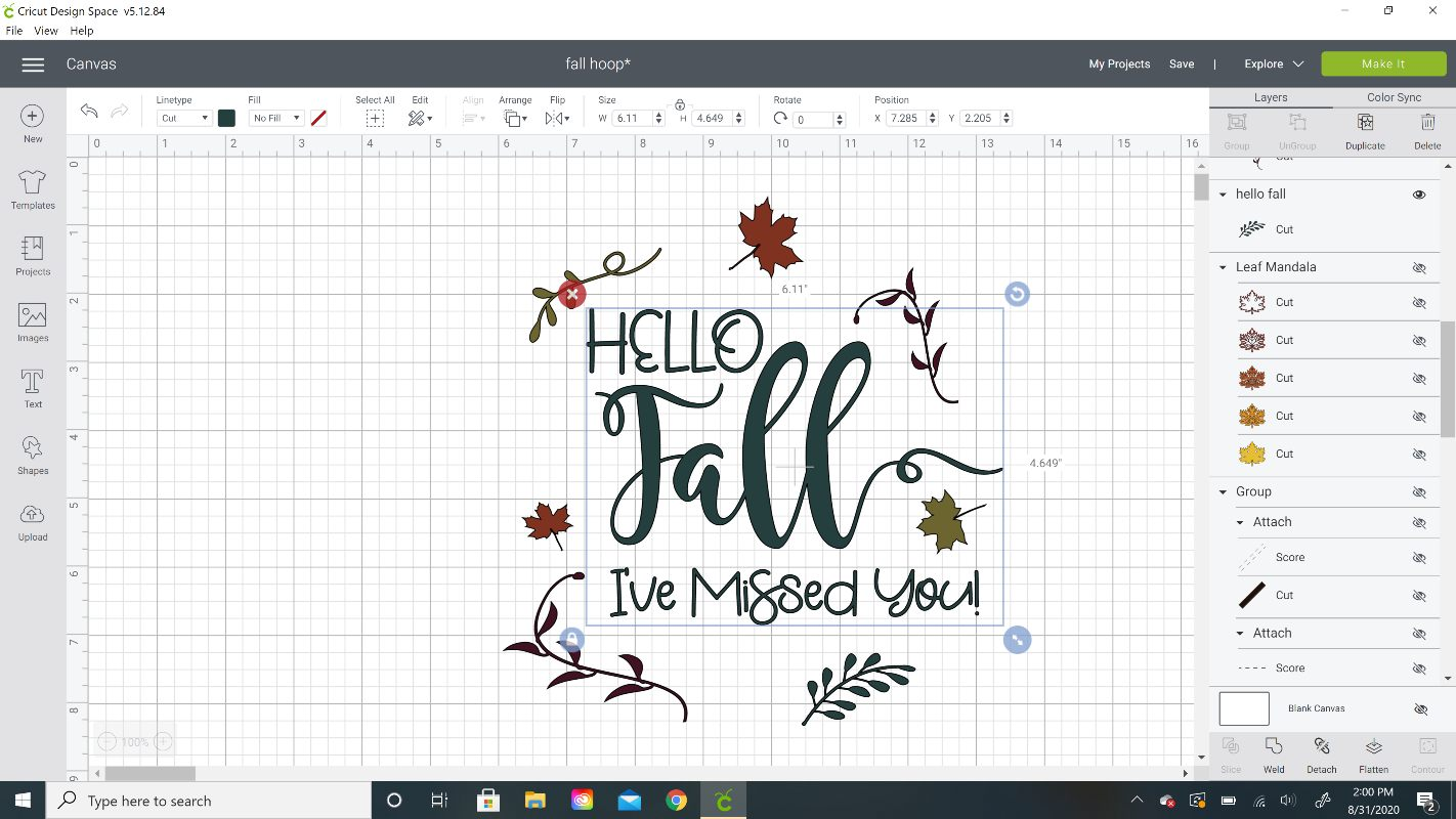 hello fall cricut cut file