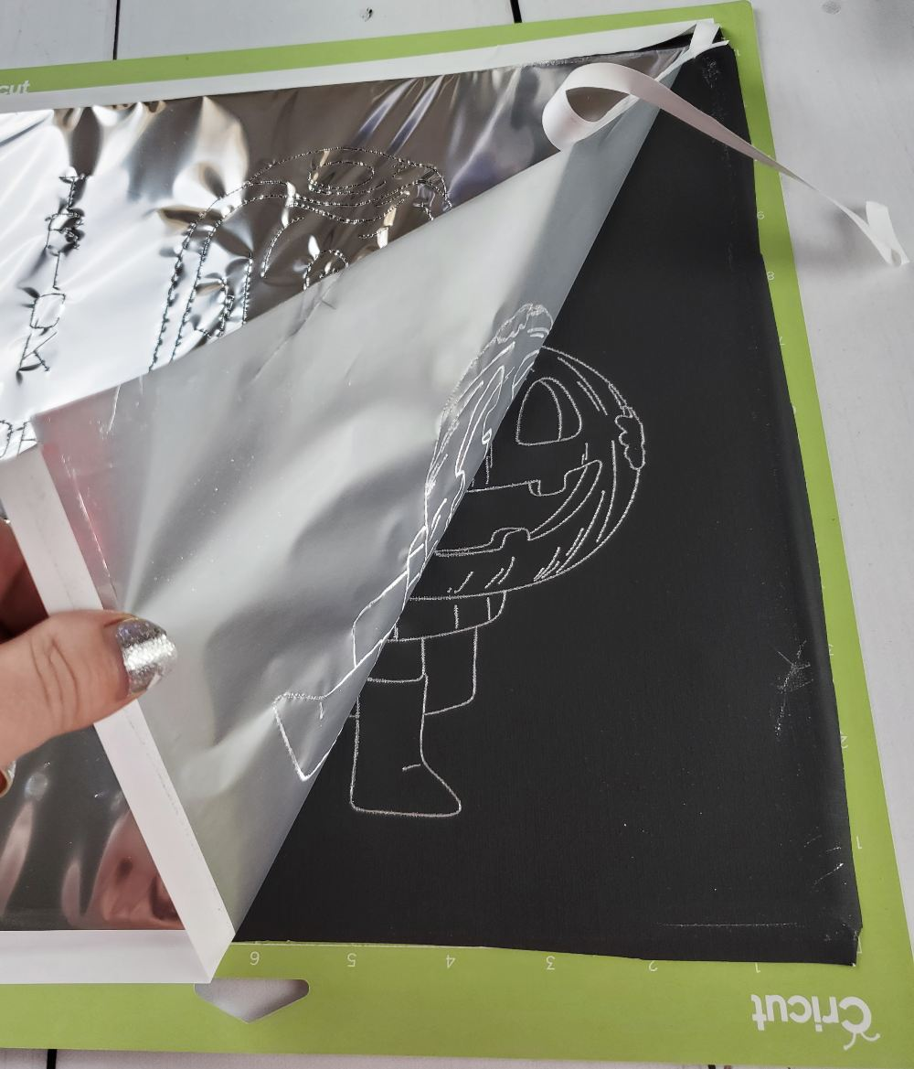 silver foil cricut on canvas