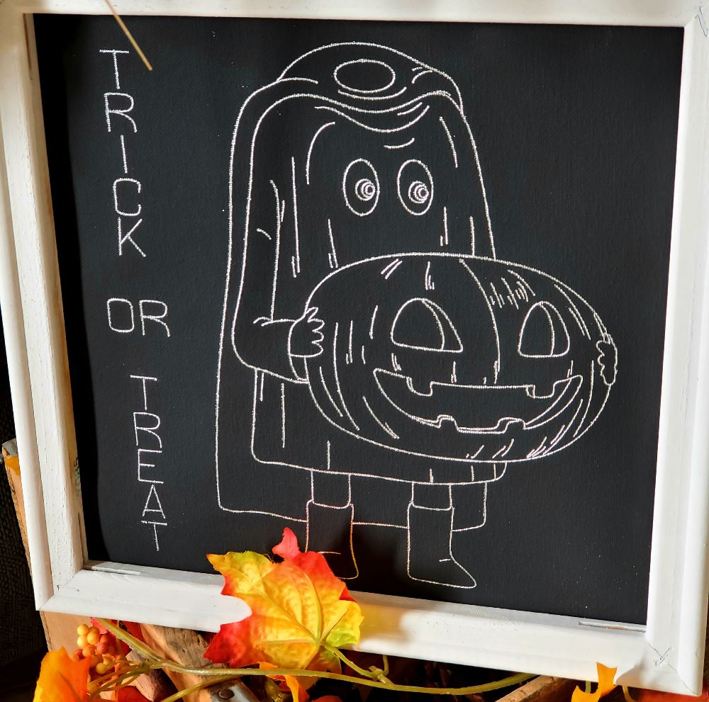 silver trick or treat canvas
