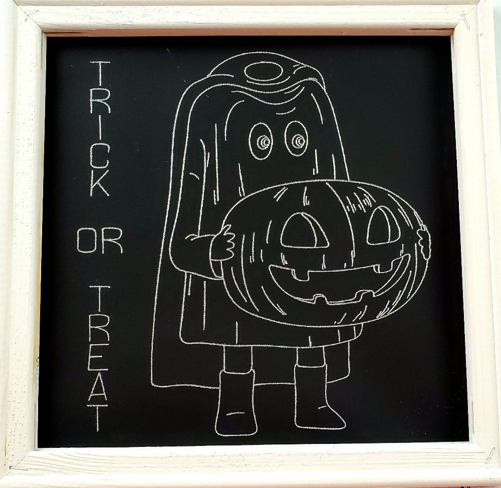 silver trick or treat wall art