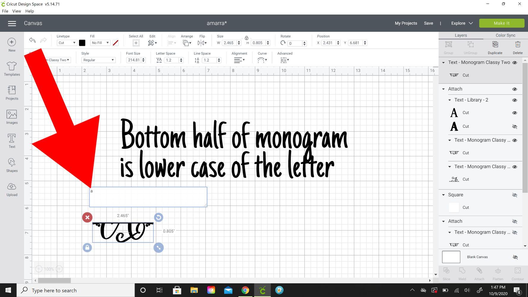 bottom half monogram