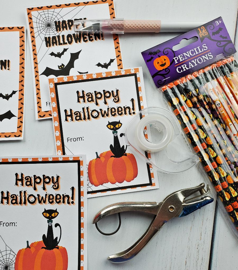 free printable halloween tags pencils