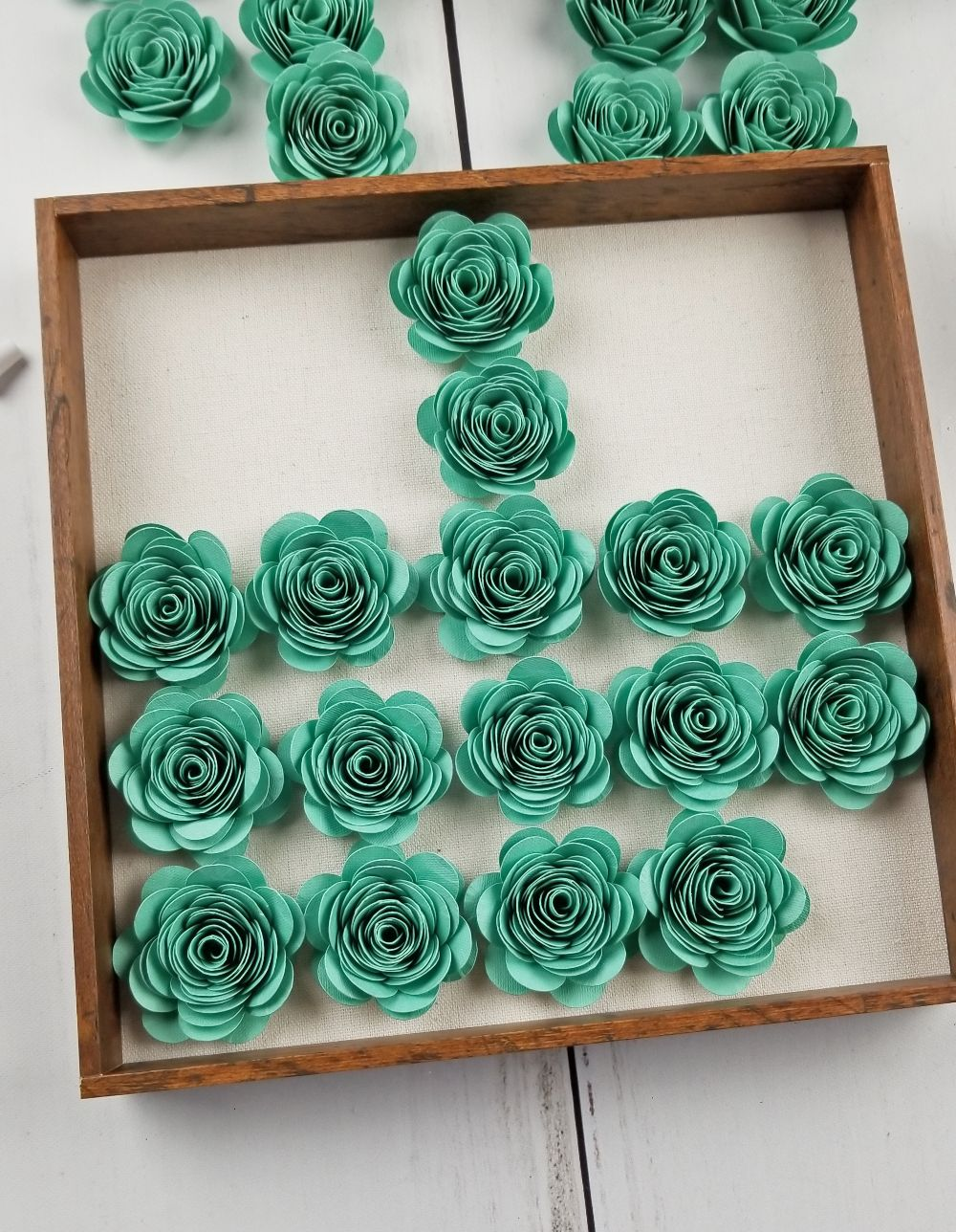 how to make paper flower shadow box