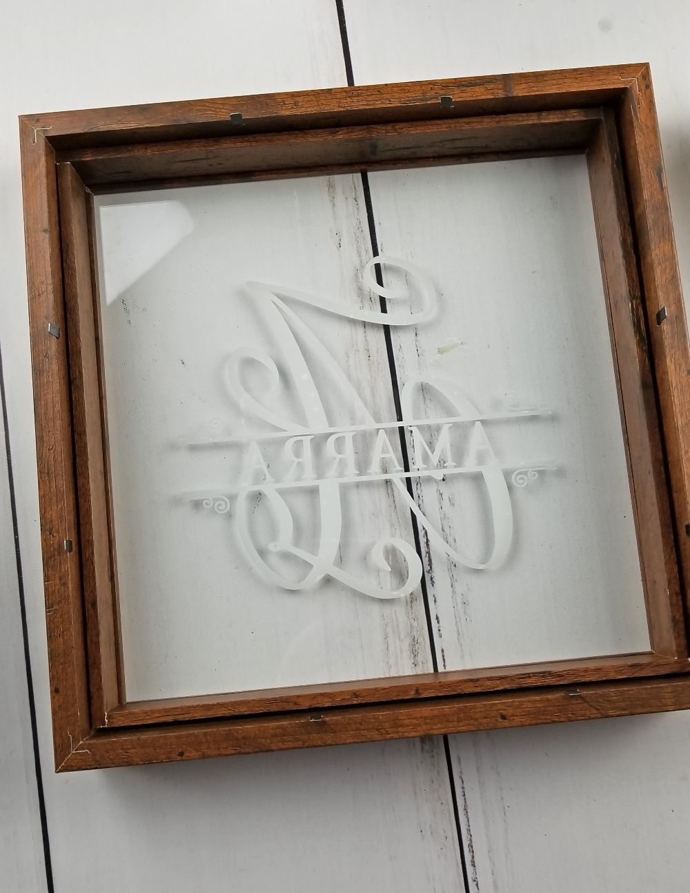 monogram name on diy shadow box