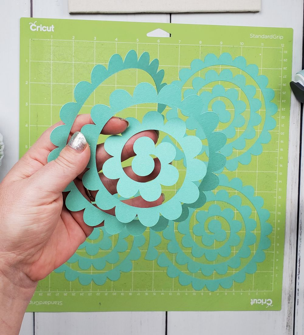paper flower for shadow box