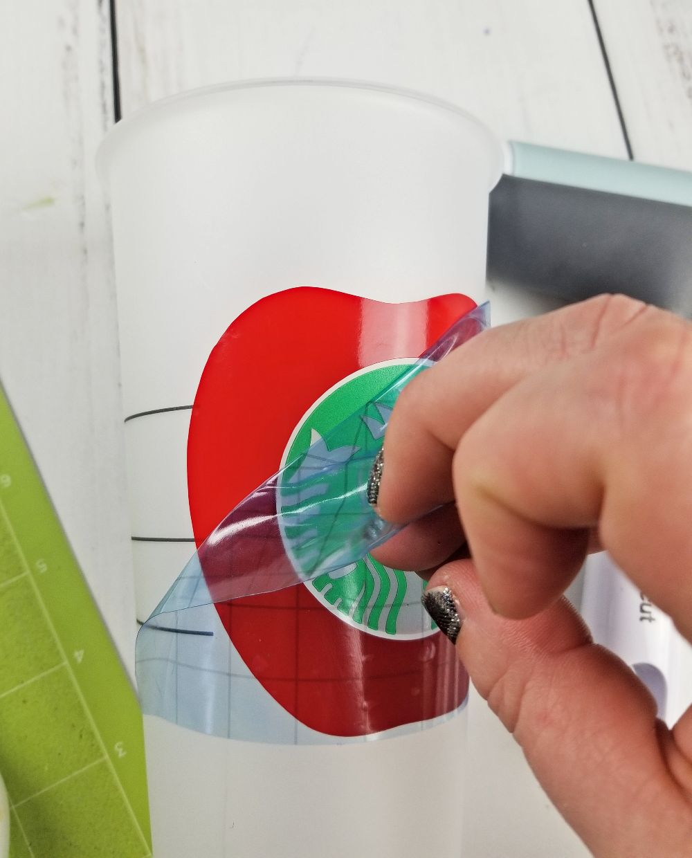 removing transfer tape from vinyl