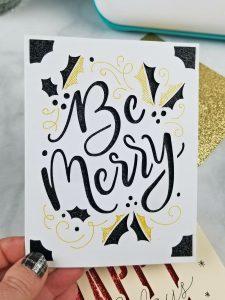glitter cricut joy cards