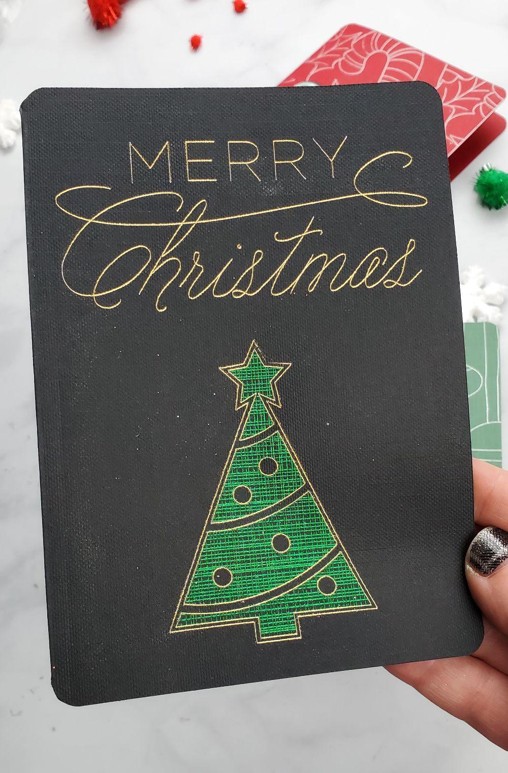 merry christmas foil card diy