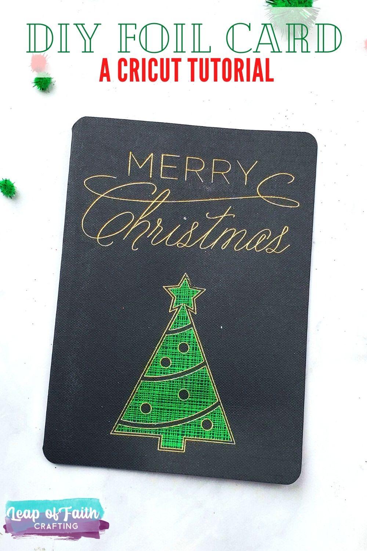 merry christmas foil cricut card