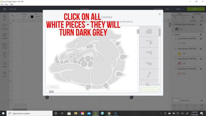 using contour tool design space cricut