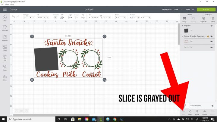why is slice grayed out in cricut