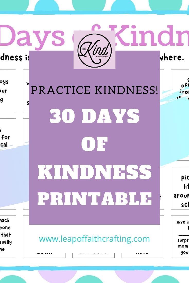 days of kindness free printable