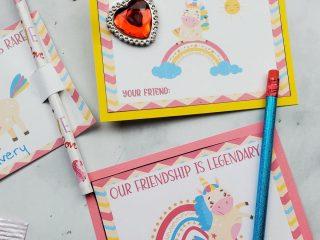 free printable valentines cards unicorn