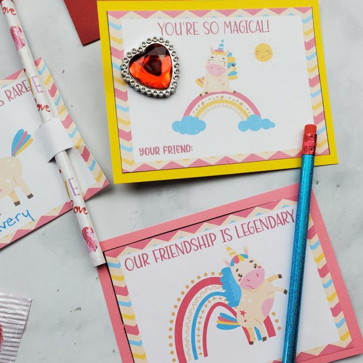 free printable valentines cards unicorn