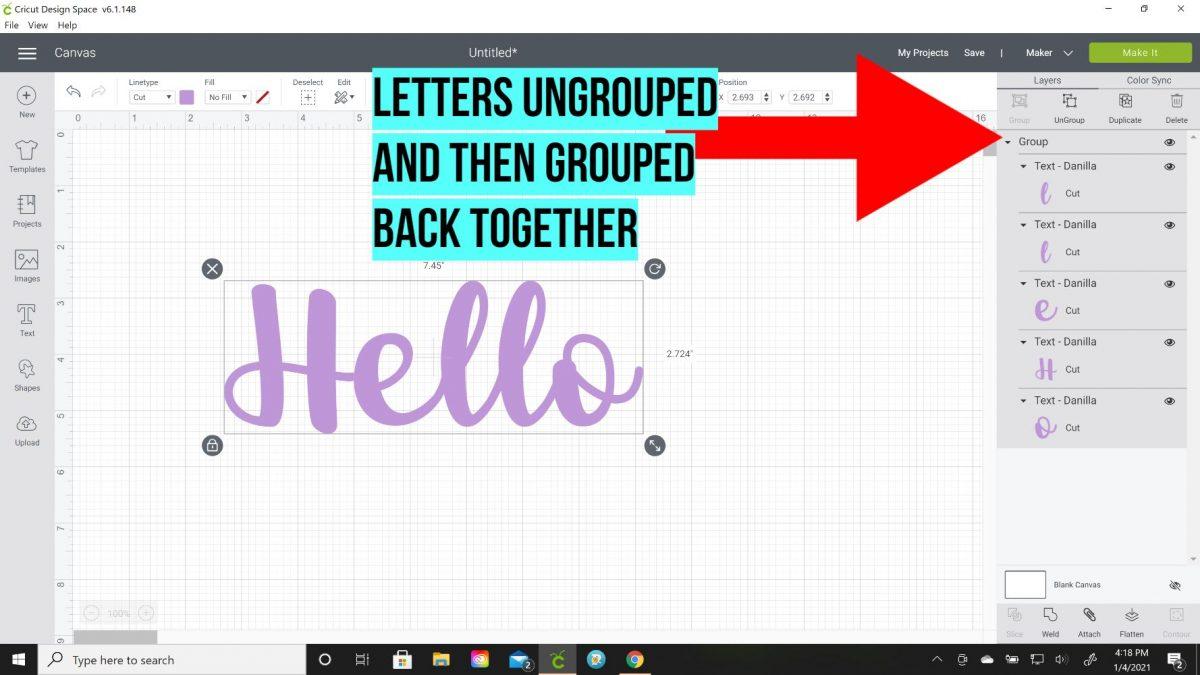 grouped letters cricut