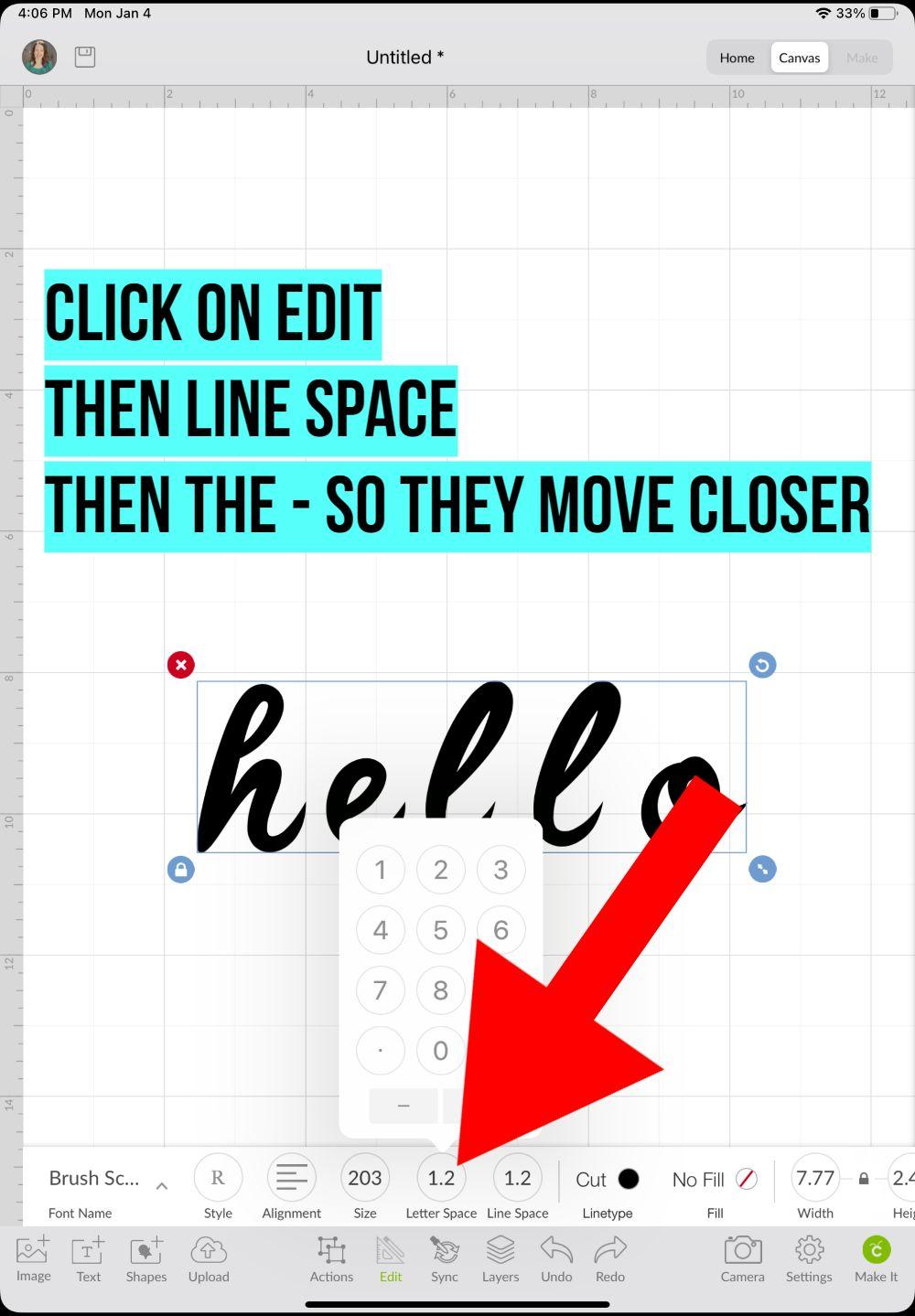 how to attach cursive text cricut ipad