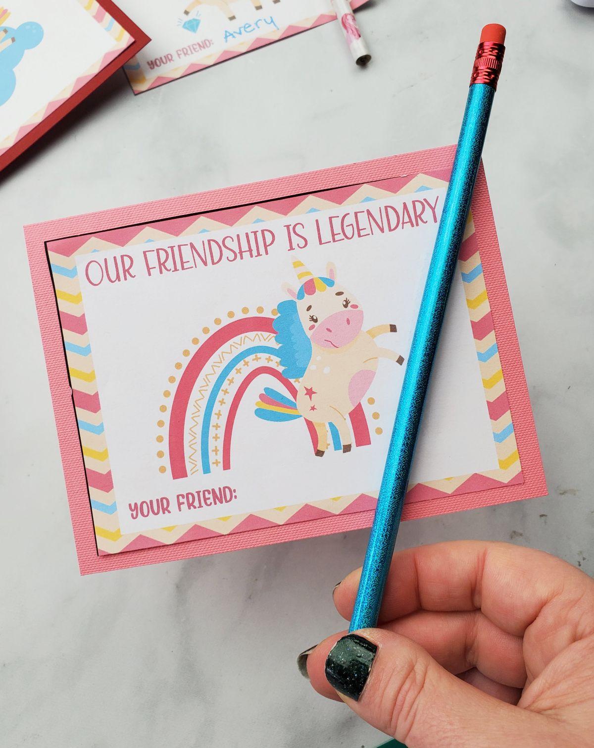 unicorn valentine card free