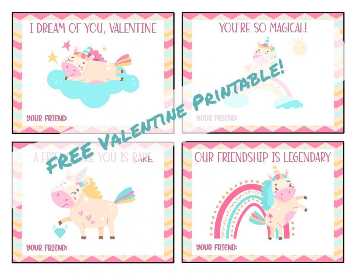 unicorn valentine printable