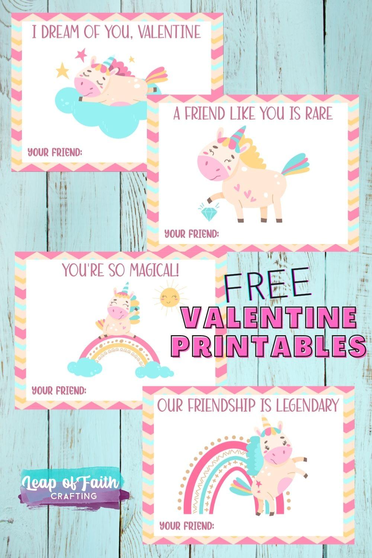 unicorn valentines printable free