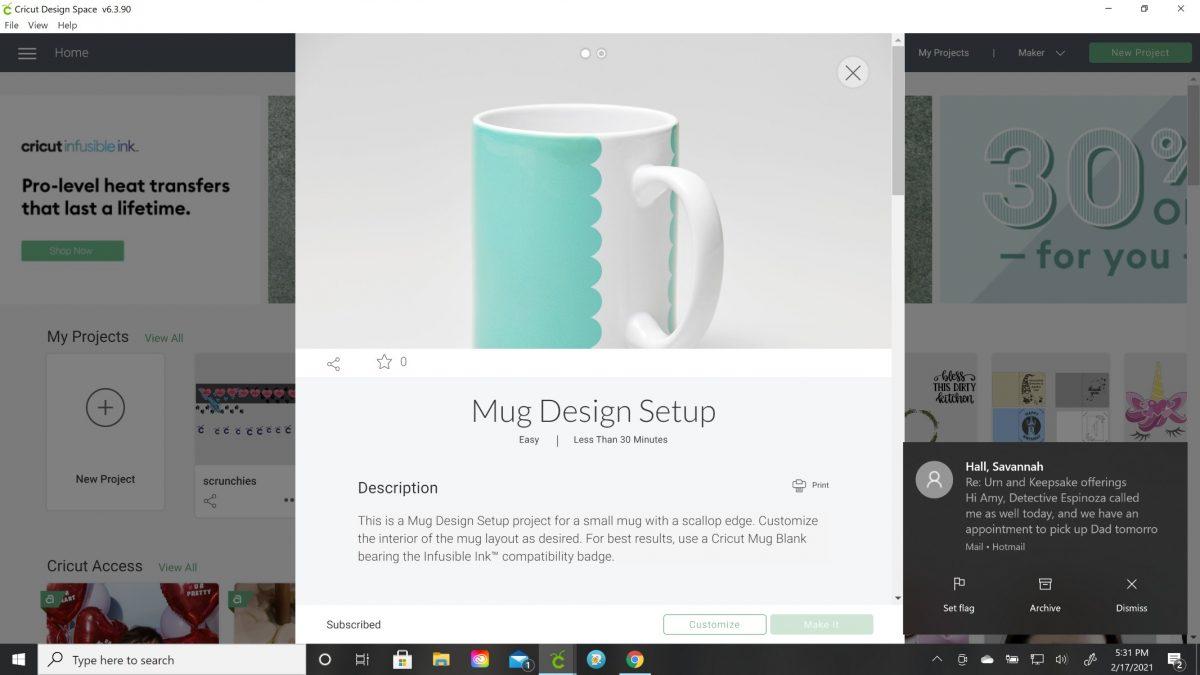 scallop edges cricut mug