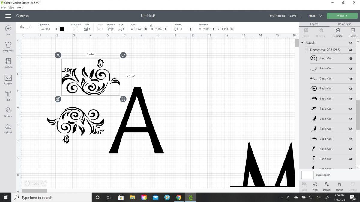 how to do split monogram on cricut