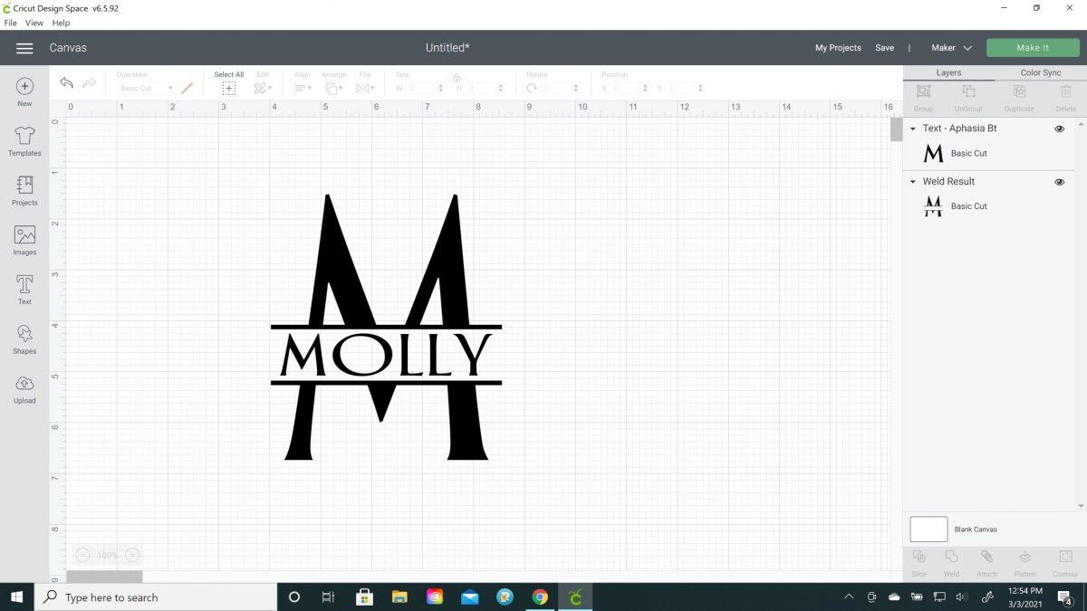 how to make a split letter monogram on cricut