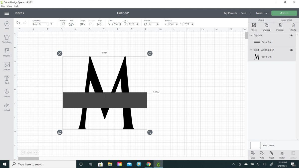 how to make split letter monogram cricut
