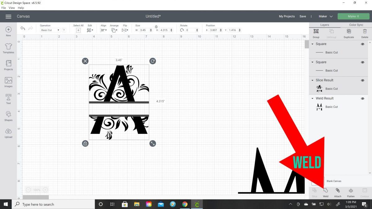 how to split letter on cricut