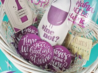 cricut gift basket wine