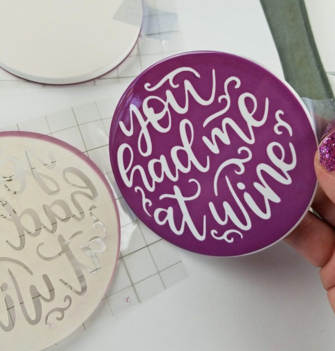 infusible ink wine coaster
