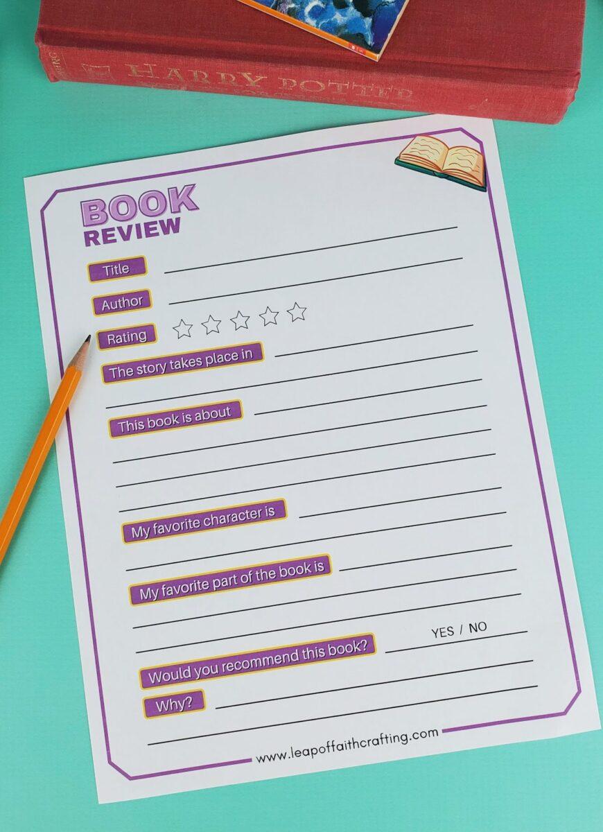 book review printable
