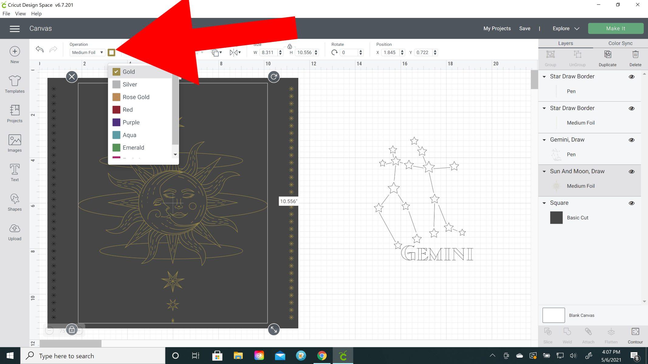 cricut foil color in design space