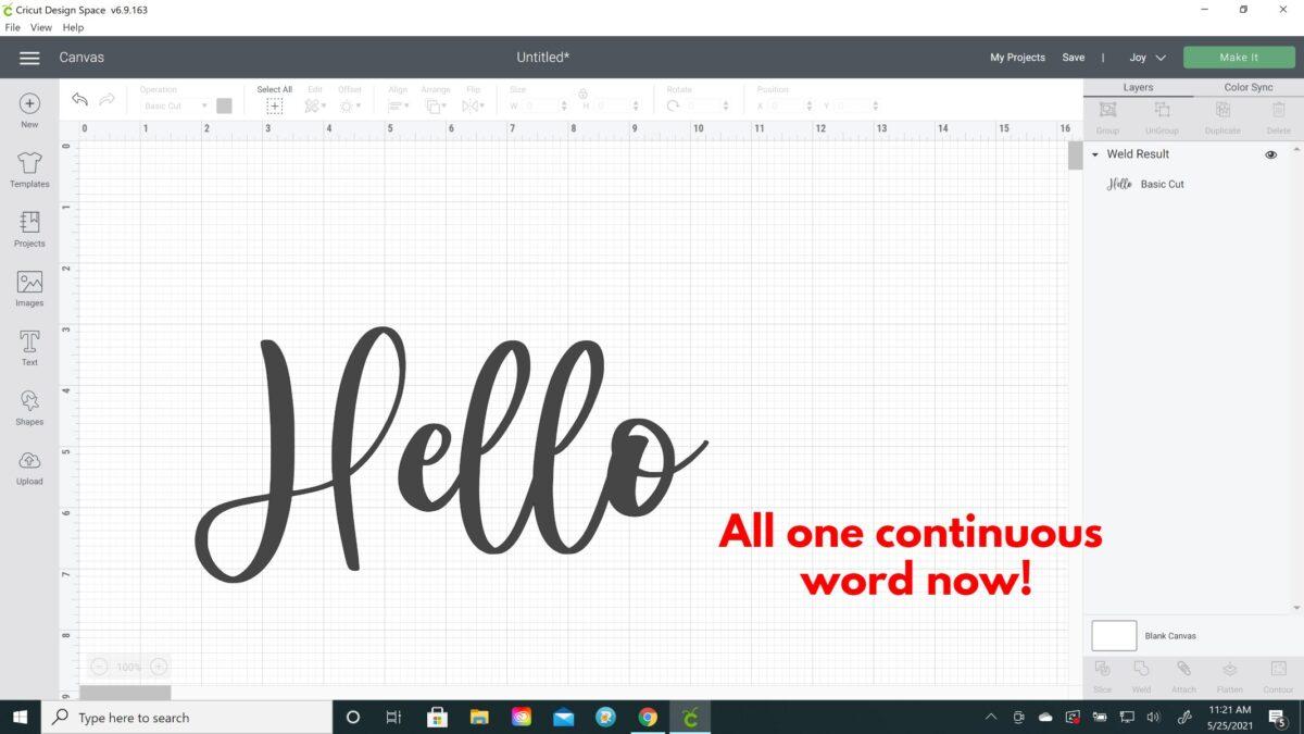 kerned word cricut design space