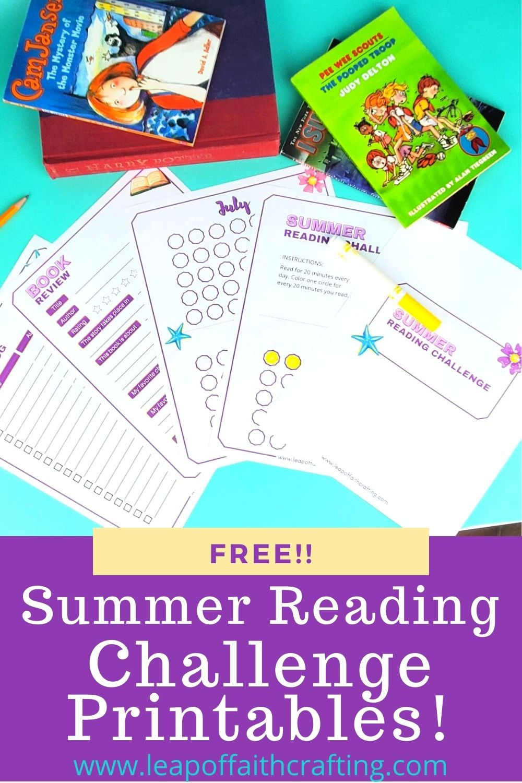 summer reading challenge printable pin