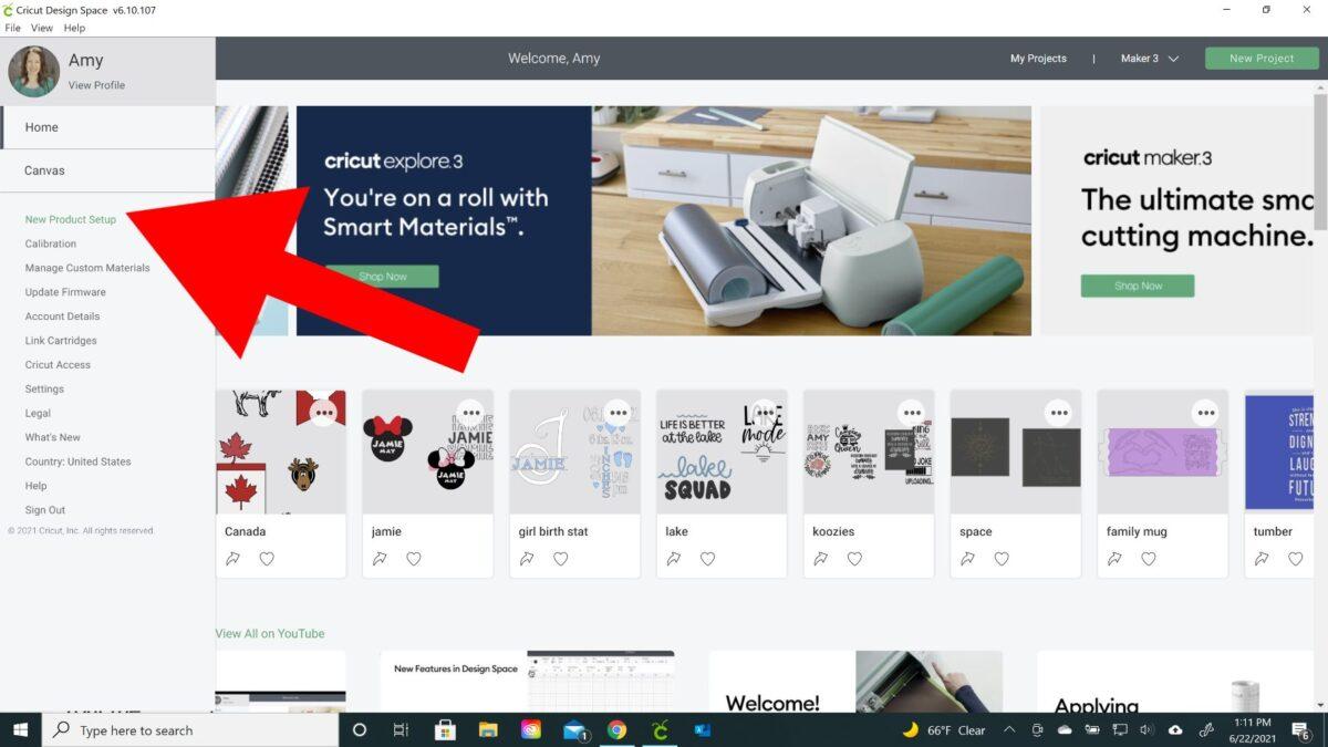 new product setup cricut design space