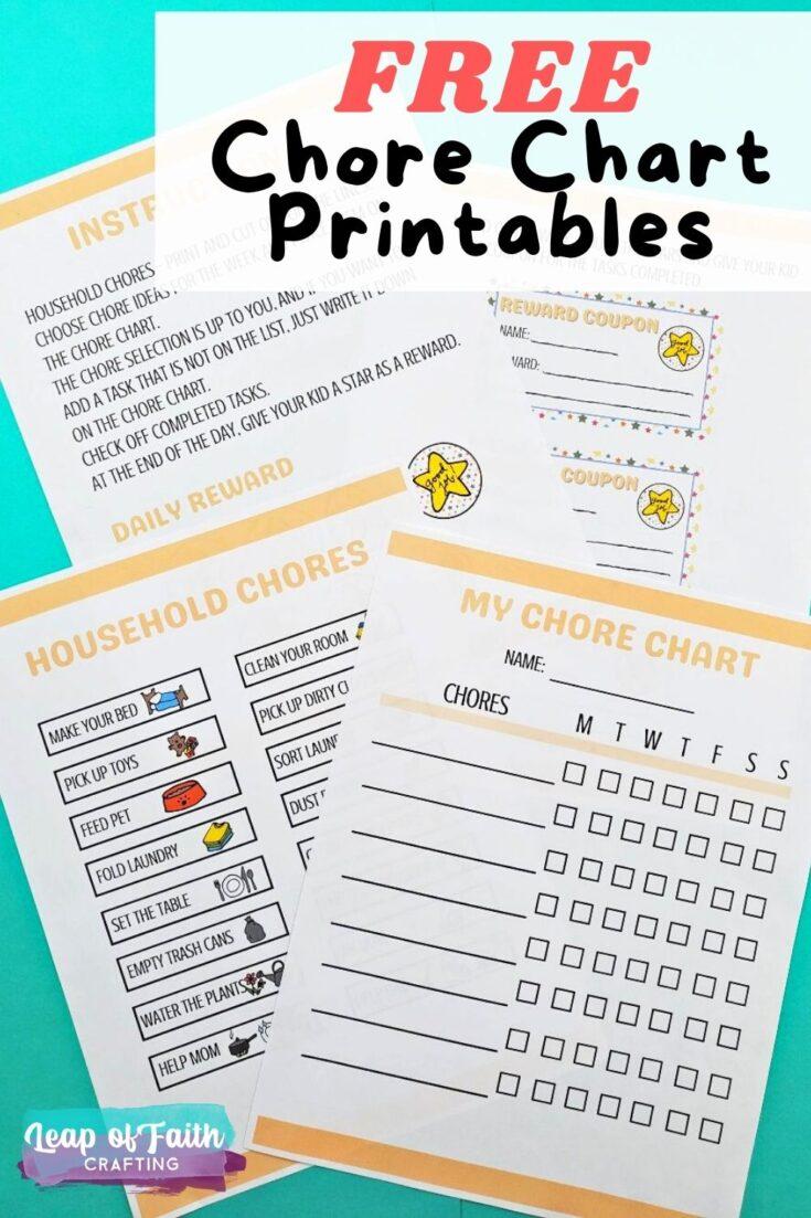 chore chart printable free pin