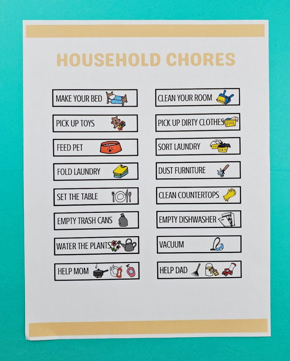 free printable chore pictures