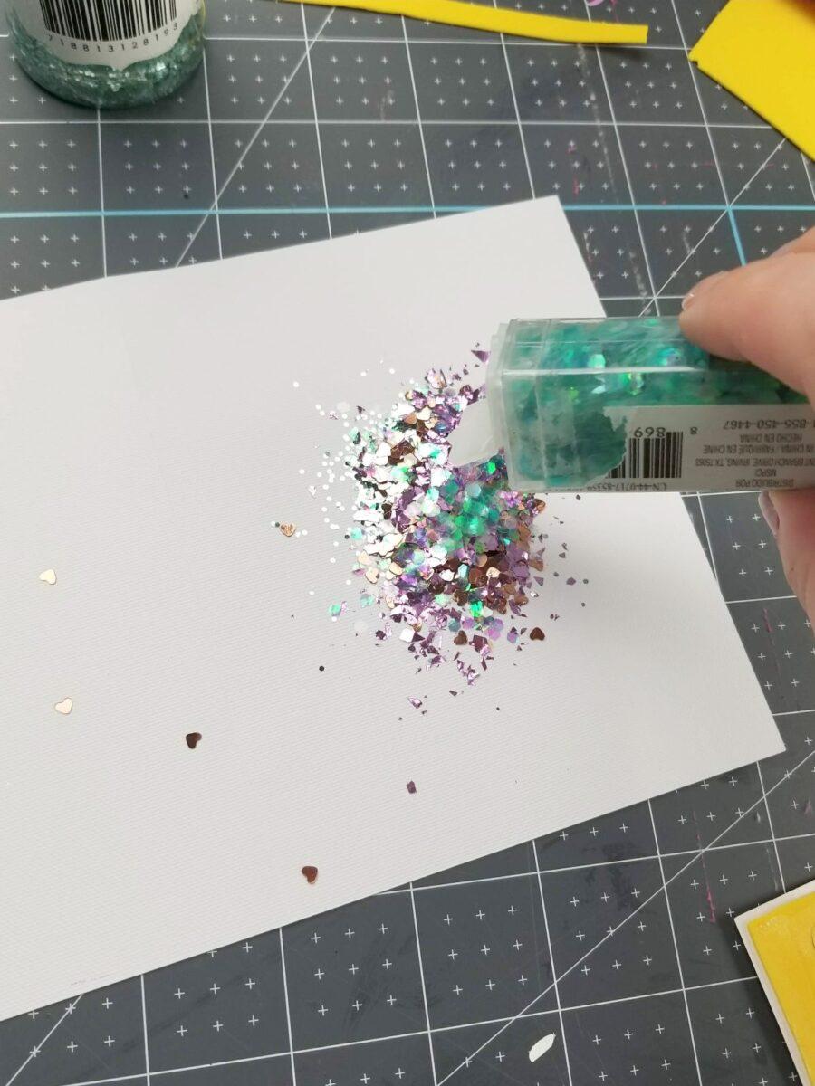 putting glitter in shaker card
