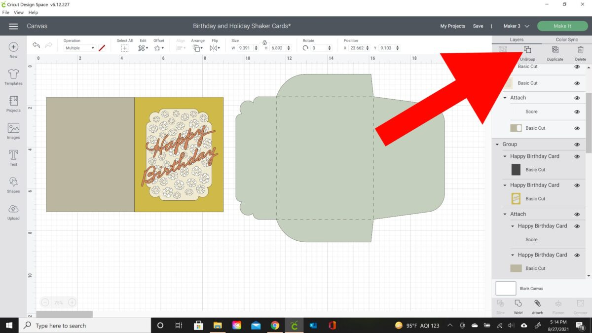 shaker card tutorial design space