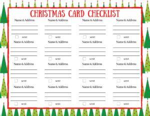 christmas card checklist printable