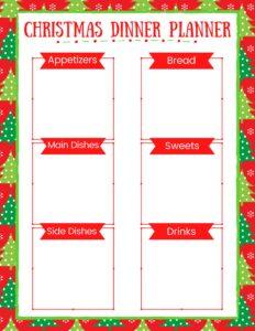 christmas dinner planner printable