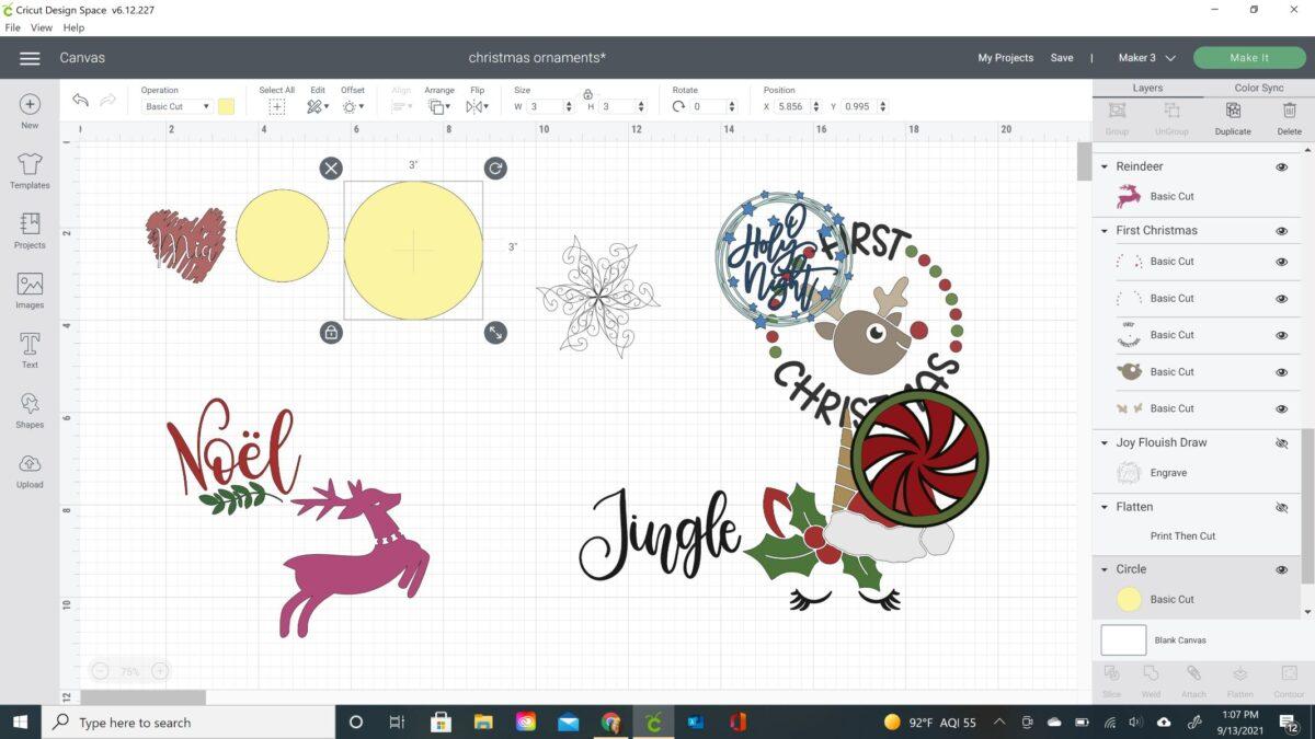 cricut ornaments design space