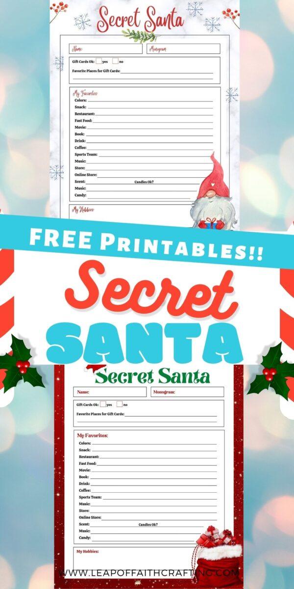 secret santa printable list